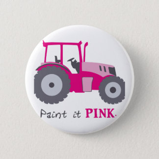 Pink tractor illustration paint it pink! pinback button