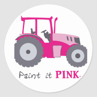Pink tractor illustration paint it pink! round sticker