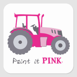 Pink tractor illustration paint it pink! square sticker