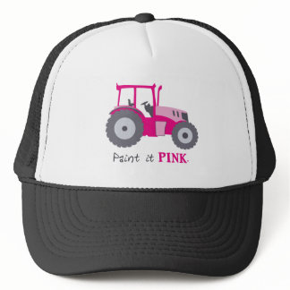 Pink tractor illustration paint it pink! trucker hat