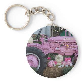 Pink Tractor Keychain
