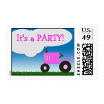 Pink Tractor Party Postage Stamp