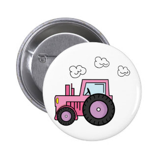 Pink Tractor Pinback Button