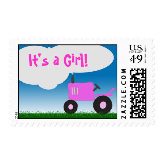 Pink Tractor Postage: It's a Girl! Postage