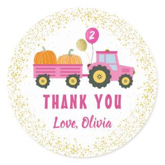 Pink Tractor Pumpkin Autumn Birthday Thank You Classic Round Sticker