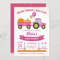 Pink Tractor Pumpkin Girls Autumn Birthday Invitation