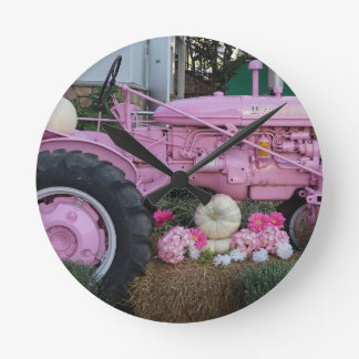 Pink Tractor Round Clock