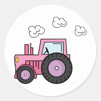 Pink Tractor Round Stickers