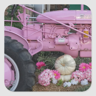 Pink Tractor Square Sticker