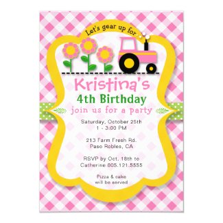 Pink Tractor Sunflower Girls Birthday Party Invite