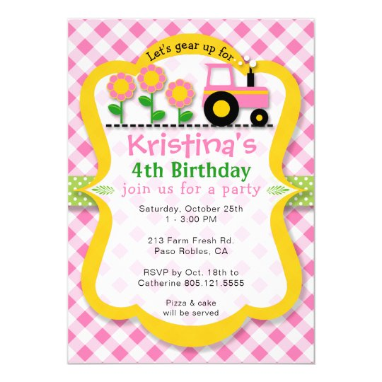 pink tractor sunflower girls birthday party invite zazzle com