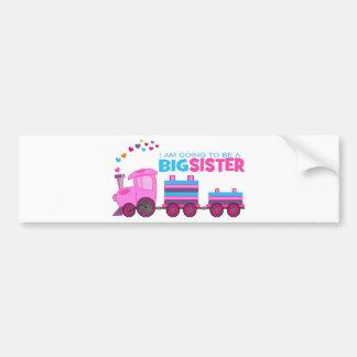 Pink Train Big Sister Car Bumper Sticker