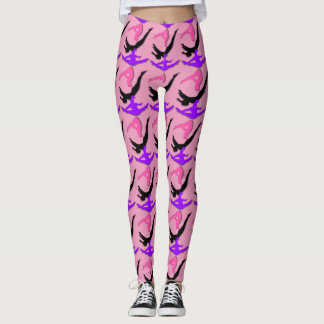 Pink Trampoline Gymnastics design pattern leggings