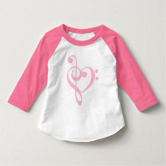 Pink Treble Clef & Bass Clef Heart T-Shirt
