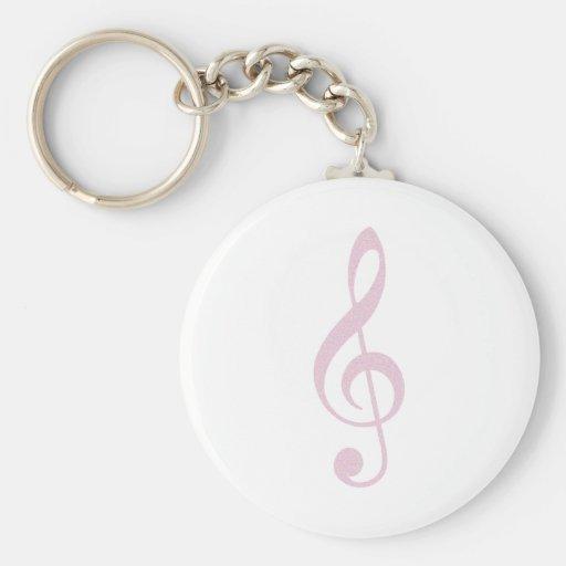 Pink Treble Clef Key Chains