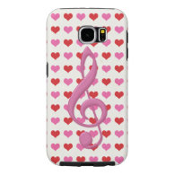 Pink Treble Clef Love Hearts Music Samsung Galaxy S6 Cases