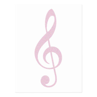 Pink Treble Clef Postcard