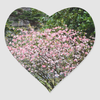 Pink Tree and Daffodils Heart Sticker