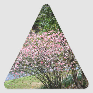 Pink Tree and Daffodils Triangle Sticker
