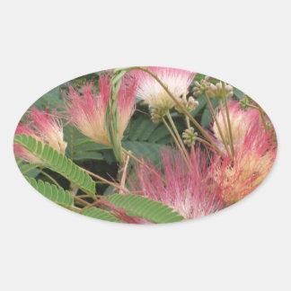 Pink Tree Blossom Oval Sticker