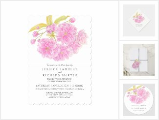 Pink tree blossom watercolor wedding