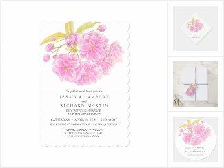 Pink tree blossom watercolor wedding
