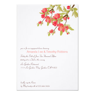 Pink Tree Blossoms Wedding Engagement Party Invite
