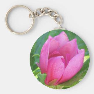 Pink Tree Flower Basic Round Button Keychain