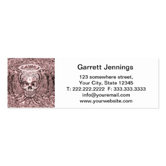 Pink Tree of Life  Skull with Yin Yang Eyes Double-Sided Mini Business Cards (Pack Of 20)