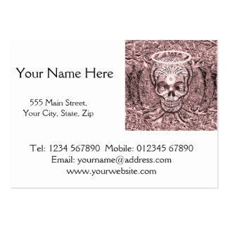 Pink Tree of Life  Skull with Yin Yang Eyes Large Business Card