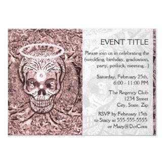 "Pink Tree of Life  Skull with Yin Yang Eyes - Part 4.5"" X 6.25"" Invitation Card"