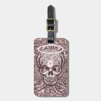 Pink Tree of Life, Yin Yang Eyes, Skull Luggage Tag