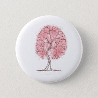 Pink Tree Pinback Button
