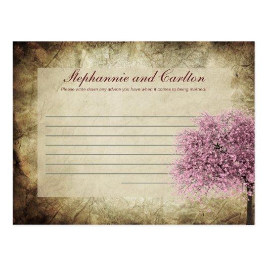 Pink Tree Wedding Writable Advice Card