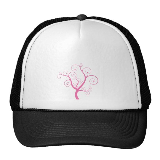 Pink tree with hearts trucker hat