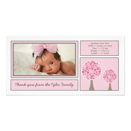 Pink Trees Baby Girl Thank You Photo Card