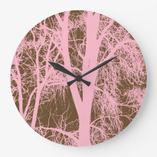 Pink Trees Silhouette Round Clock