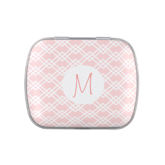 Pink Trellis with Monogram Jelly Belly Candy Tins