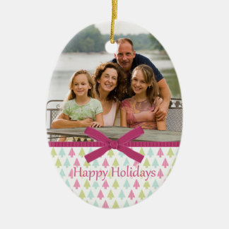 Pink trendy Christmas trees photo oval ornament