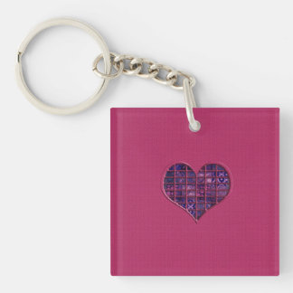 Pink trendy girly heart with purple material keychain