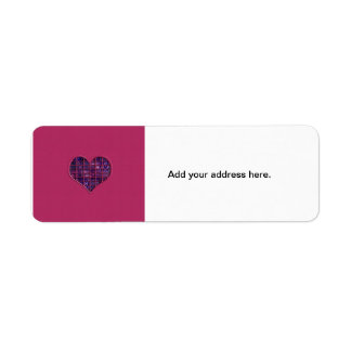 Pink trendy girly heart with purple material label