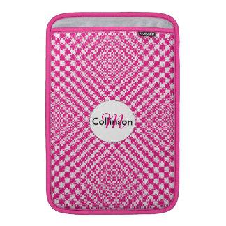 Pink Trendy Herringbone Check Pattern Personalized MacBook Sleeve