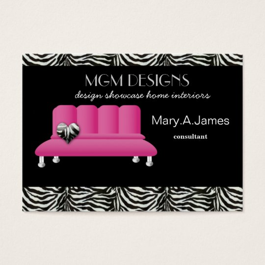 pink trendy interior decorator Business Cards