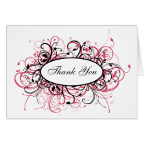 pink trendy Thank You Card