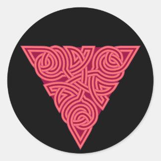 Pink Triangle Knot Round Sticker
