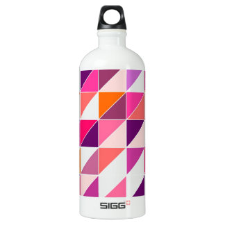 Pink triangle mosaic wrapping surface design aluminum water bottle
