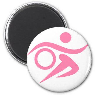 Pink Triathlete 2 Inch Round Magnet