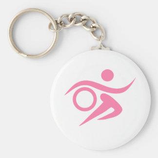 Pink Triathlete Basic Round Button Keychain