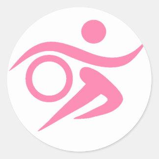 Pink Triathlete Classic Round Sticker