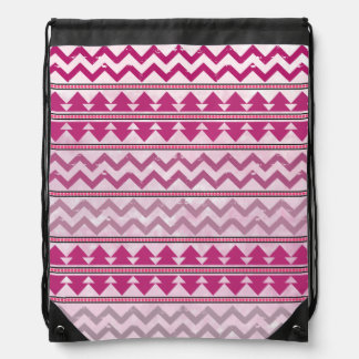 Pink Tribal Inspired Drawstring Backpack